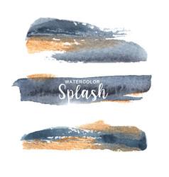 Grey and yellow splash design watercolor hand vector