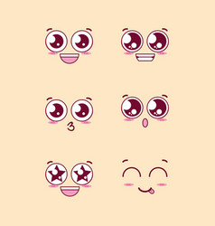 Group faces emoticons characters vector