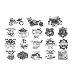 hand drawn set motorbike logos or stamps vector image