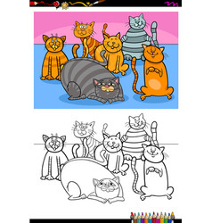 happy cats animal characters group color book vector image