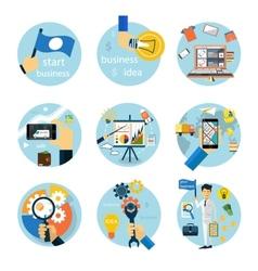 Icons set for business e-shopping logistics vector image