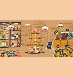 Interior of modern grocery store with products vector