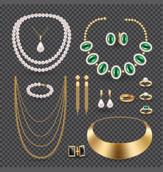 Jewelry accessories transparent set vector