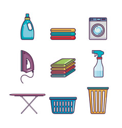 laundry and dry cleaning icons vector image