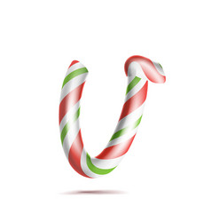 Letter v 3d realistic candy cane alphabet vector