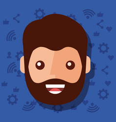 man face character with social media networks vector image
