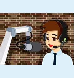 Man with headphone and microphone on the vector