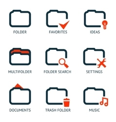 Mobile apps folder icons set favorites settings vector