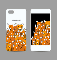 mobile phone design funny fox family vector image
