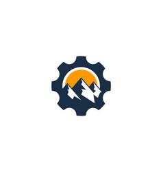 Mountain gear logo icon design vector