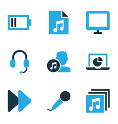 Music icons colored set with earphone song list vector