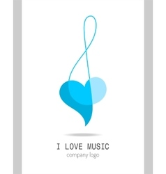 Musical logo treble clef Modern stylish musical vector image