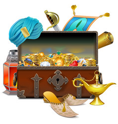 Old eastern chest with treasures vector