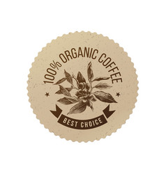 Organic coffee eco emblem vector