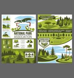 Parks and forests maintenance landscape design vector