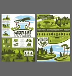 Parks and forests maintenance landscape design vector