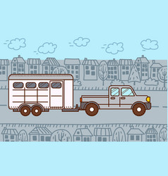 Pickup with horse trailer in city vector