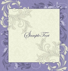 Purple and Ivory Vintage Floral Wedding Invitation vector image