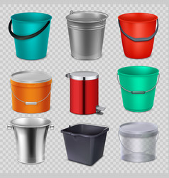 realistic 3d metal and plastic buckets with handle vector image