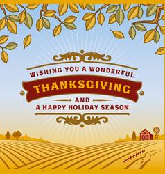 retro thanksgiving greeting card vector image