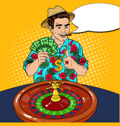 rich man behind roulette table celebrating big win vector image