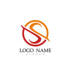 s logo line template font vector image