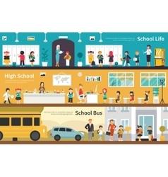 School Life High Bus flat interior outdoor concept vector