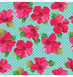 Seamless floral pattern with hibiscus vector
