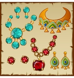 Set ethnic jewelry with precious stones and metals vector