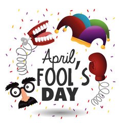 Set fun things to fools day celebration vector