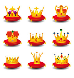 Set golden royal crowns on red ceremonial pillow vector
