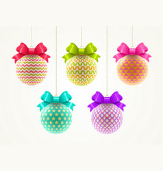 Set multicolored christmas baubles vector