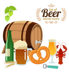 Set of beer glasses bottle and snack vector