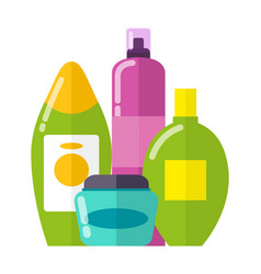 Set of colorful care products vector