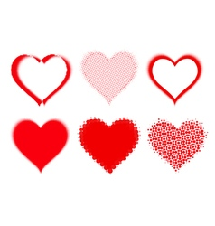 set of halftone hearts vector image