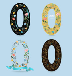 set of number zero with retro floral decor vector image