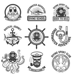 set of scuba diving club emblems design elements vector image