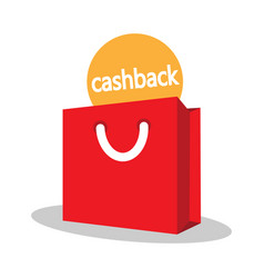 Shopping bag with the sign of the cashback vector
