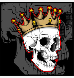 Skull wearing a king crown vector