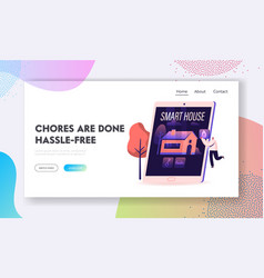 smart house website landing page tiny man stand vector image