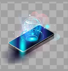 Smartphones security controls futuristic smart vector