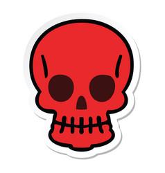 Sticker of a quirky hand drawn cartoon skull vector