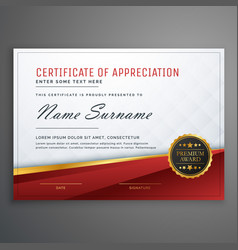 Stylish red and golden premium certificate design vector