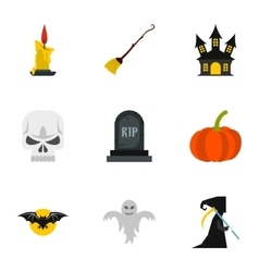 Terrible holiday icons set flat style vector image