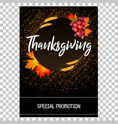 thanksgiving card with wheat spikes maple leaves vector image