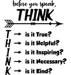 Think before you speak typography letter quotes vector