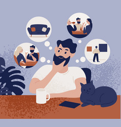 thoughtful bearded man sitting at table and vector image