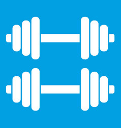 two dumbbells icon white vector image