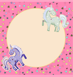 unicorns in pastel colors on the background of vector image