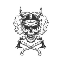 viking skull wearing horned helmet vector image